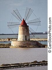 Saltern quinquies - Windmill in the saltern, Marsala, Sicily