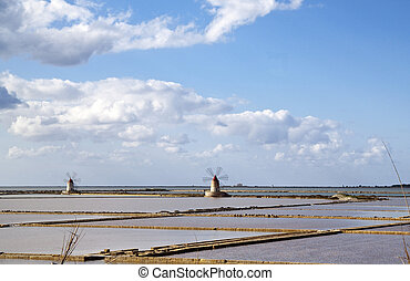 Saltern sexies - Marsala saltern with two windmills, Sicily