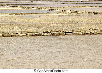 Saltern - Sandstone blocks in Masarala saltern, Sicily