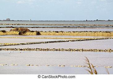 Saltern ter - Marsala saltern with Isola Lunga at the...