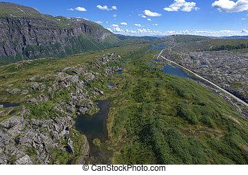 Nordland County, Norway. Saltfjellet Svartisen National Park Summer Aerial Scenery. Beautiful Rock Formations.