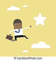 salti, star., portata, africano, uomo affari, fuori