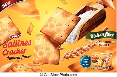 Saltines cracker ads, tasty saltines with a scoop of sea salt isolated on yellow background in 3d illustration