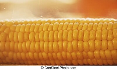 Salting freshly cooked boiled corn, slow motion video -...