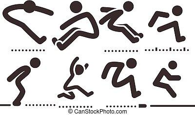 salto, ícones, longo