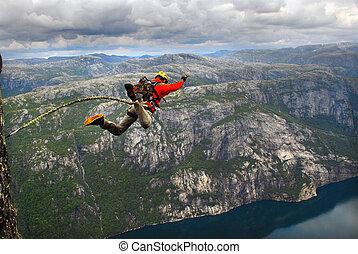 salto, acantilado, de, rope.