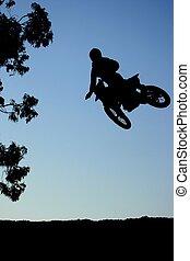 salto, acción, motorcross