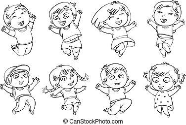 salto, alegría, niños