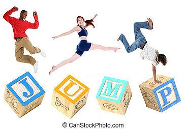 salto, alfabeto, saltar, bloques, gente