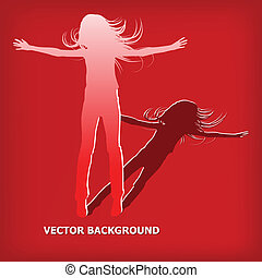 salto, astratto, silhouette, ragazza, fondo
