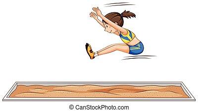 salto, atleta, donna, lungo