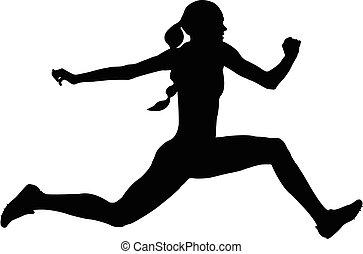 salto, atleta, donna, triplo, saltare