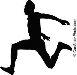 salto, atleta, macho, dinâmico