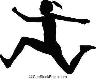 salto, atleta, mulher, triplo