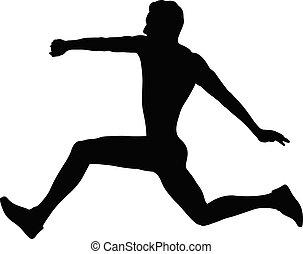 salto, atleta, triplo, homem