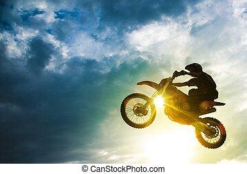 salto, bicicleta, motocross
