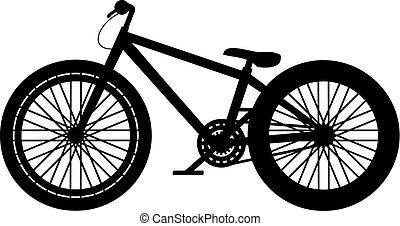 salto, bicicletta, disegno, sporcizia
