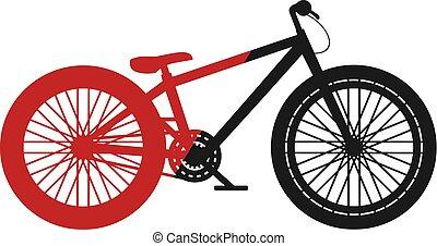 salto, bicicletta, nero rosso, sporcizia