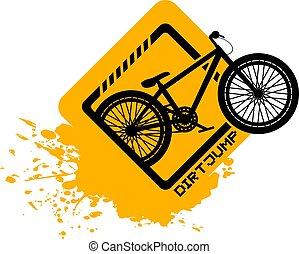 salto, bicicletta, sporcizia, icona