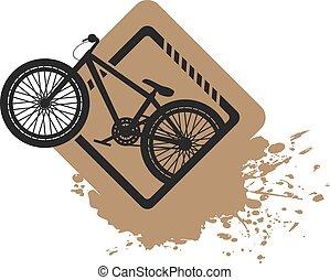 salto, bicicletta, sporcizia, illustrazione, bello