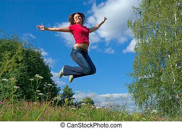 salto, céu, (series)