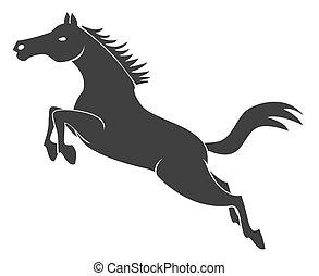 salto, caballo, símbolo