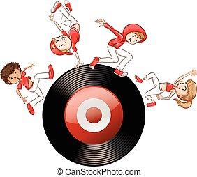 salto cadera, gente, en, registro, disco