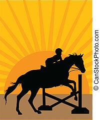 salto cavallo, silhouette