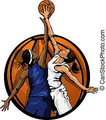 salto, cor, bola basquetebol, mulheres