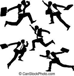 salto, correndo, uomini affari, felice