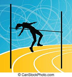 salto de altura, atletismo, activo, muchacha de la mujer, deporte, silueta, concepto, ilustración, plano de fondo, vector