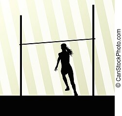 salto de altura, resumen, mujer, vector