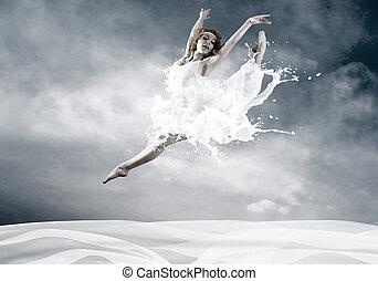 salto, de, bailarina, con, vestido, de, leche