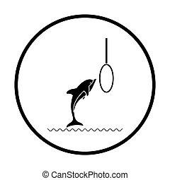salto, delfín, icono