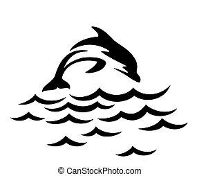 salto, delfín, sea.