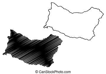 Salto Department (Departments of Uruguay, Oriental Republic of Uruguay) map vector illustration, scribble sketch Salto map