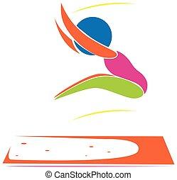 salto, desporto, athelte, longo, ícone