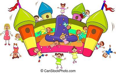 salto, diapositiva, inflable, niños