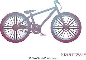 salto, disegnare, bicicletta, sporcizia