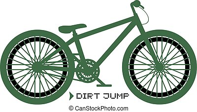 salto, drit, bicicletta, verde, illustrazione