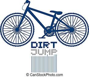 salto, drit, disegnare, bicicletta