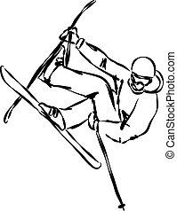 salto, esquí, ilustración