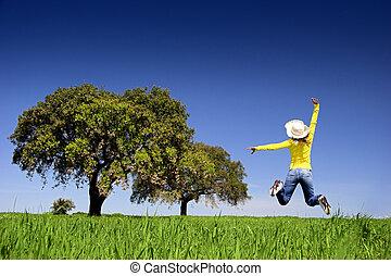 salto, feliz