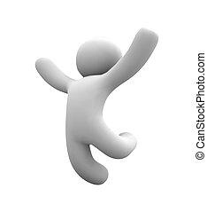salto, feliz, vector, humano, aire