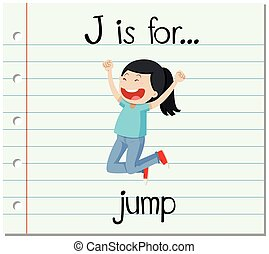 salto, flashcard, j, carta