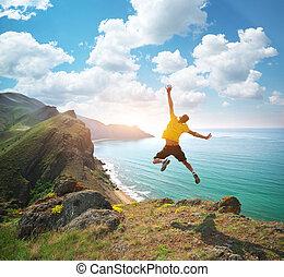 salto, happines, homem
