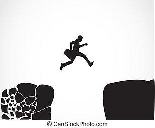 salto, homem negócios, cofre, conceito, risco