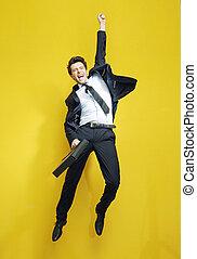 salto, homem negócios, jovem, succesful, vitória