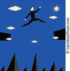 salto, homem negócios, risco