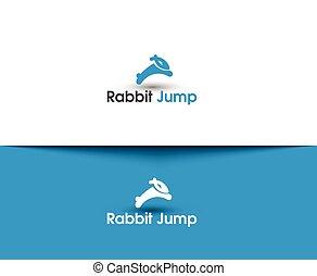 salto, logotipo, conejo